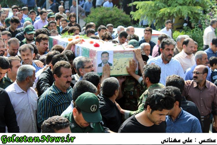 تشییع اولین شهید مدافع حرم شهر علی آباد کتول شهید قربان نجفی
