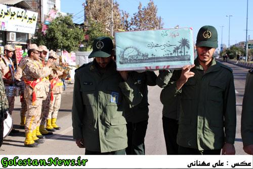 استقبال و احترام نظامی به دو شهید گمنام علی آباد کتول استان گلستان